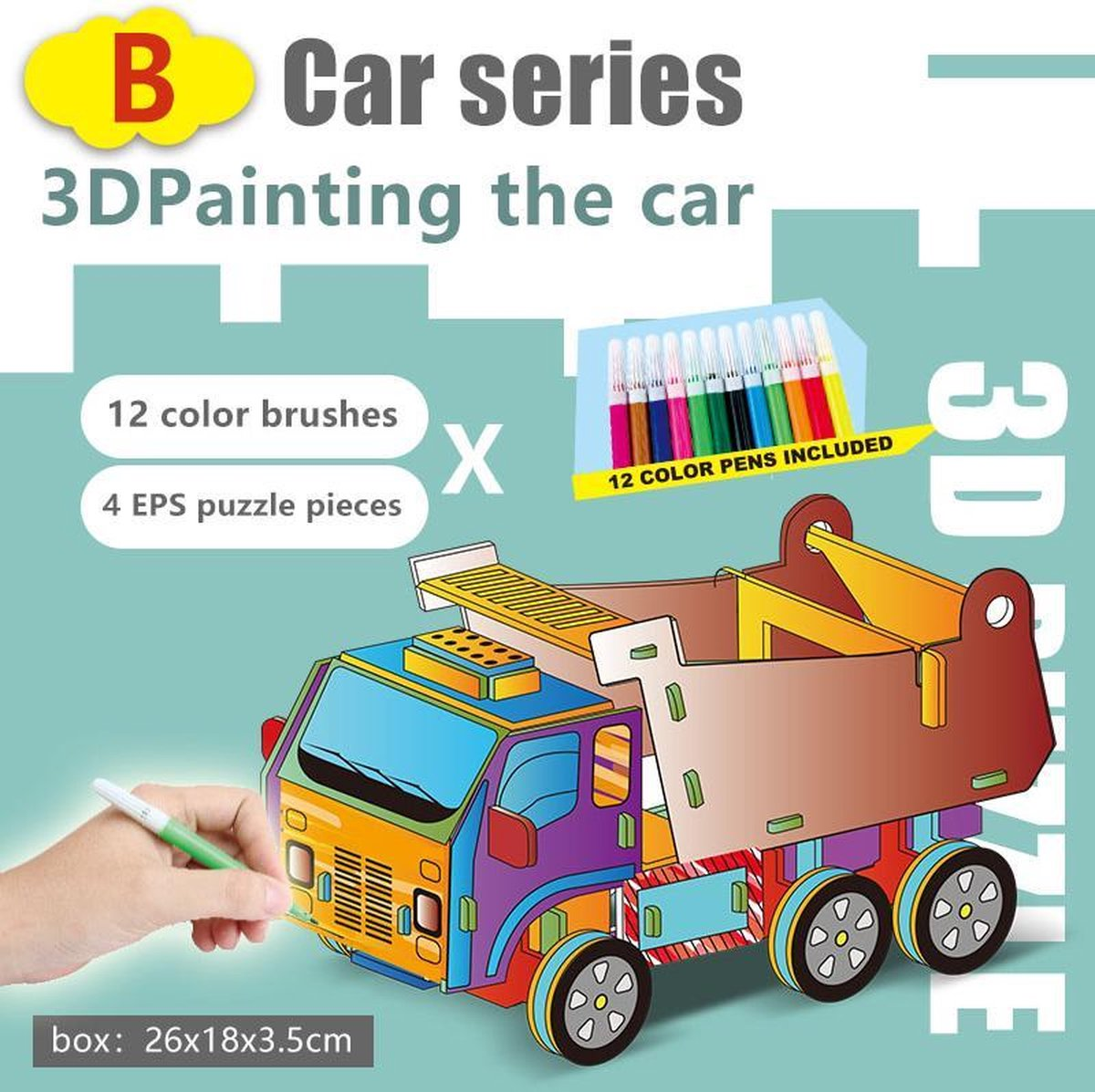 3D Puzzel ' Voertuig B&C 2 in 1 Set' Speelgoed voor kinderen - Jongens En Meisjes - Voertuigen - Villa - Kasteel - Tekenen - Kleuren - Knutselen - Vanaf 3 Jaar Oud - Leerzaam
