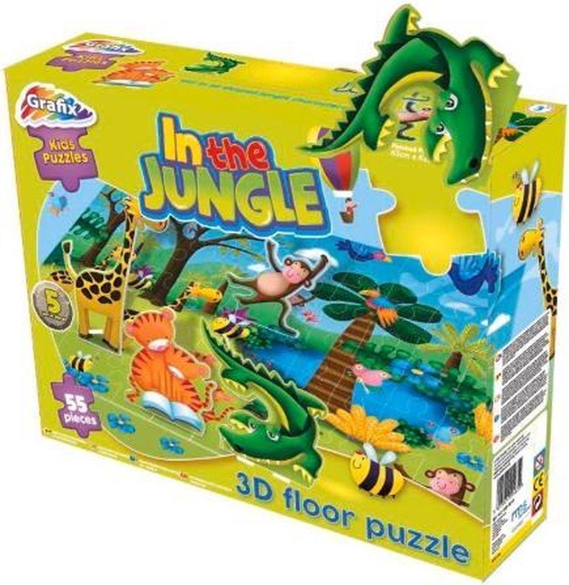 Vloerpuzzel - Jungle - 3D puzzel - 55 stukjes - Puzzel - Kinderen