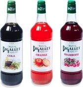 Bigallet sodamaker limonade siroop voordeelpakket Cola, Sinas & Framboos - 3 x 1000ml