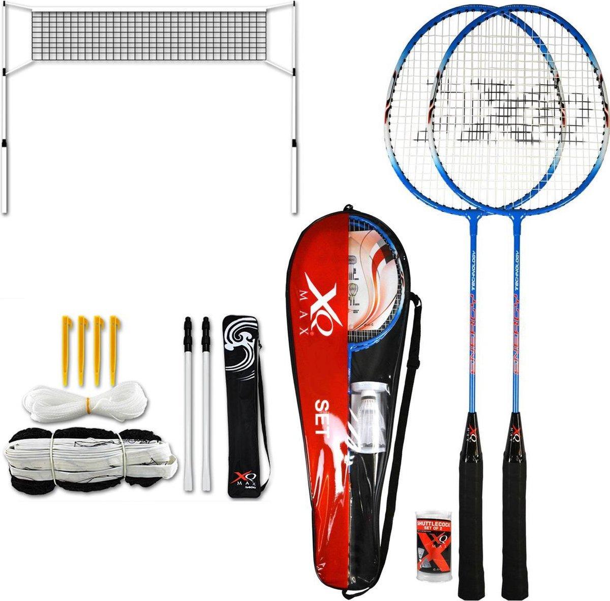 badmintonset - inclusief 2 - badminton rackets - en een - badminton net - en accessoires - shuttles - badminton set