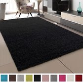 Impression Shaggy Vloerkleed Zwart Hoogpolig - 60x110 CM