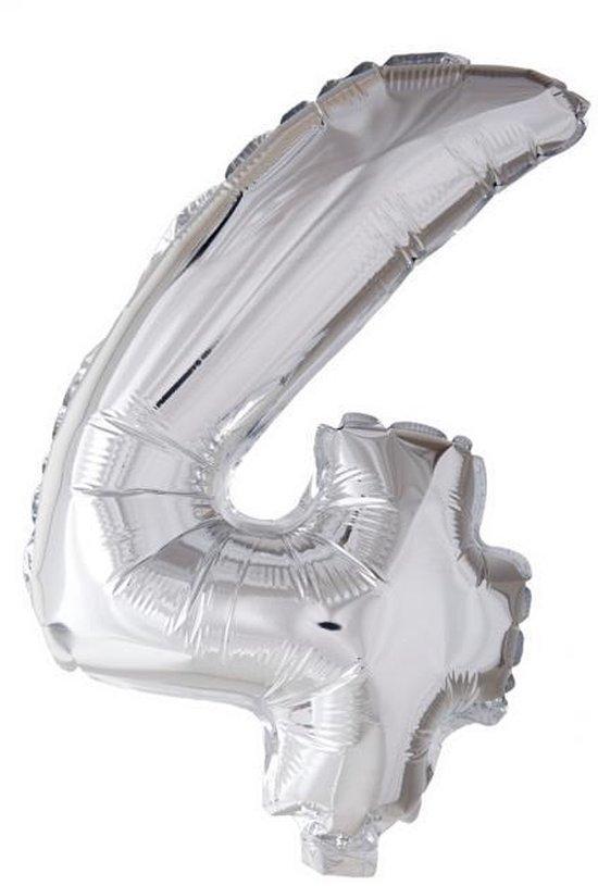 Folieballon 4 jaar zilver 41cm