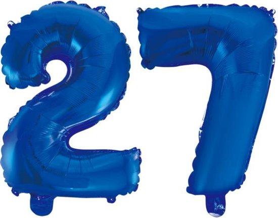 Folieballon 27 jaar blauw 86cm