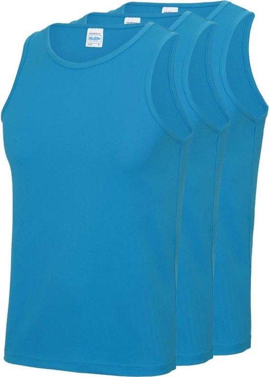 3-Pack Maat L - Sport singlets/hemden blauw voor heren - Hardloopshirts/sportshirts - Sporten/hardlopen/fitness/bodybuilding - Sportkleding top blauw voor mannen