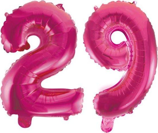 Folieballon 29 jaar roze 86cm