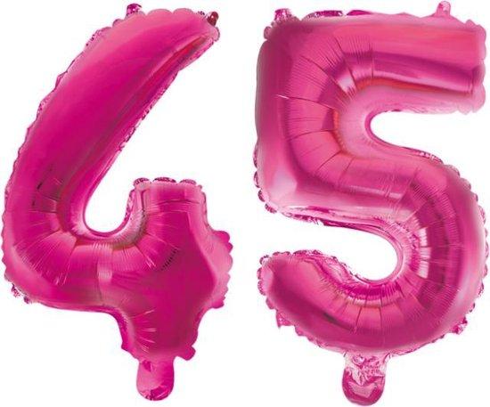 Folieballon 45 jaar roze 41cm