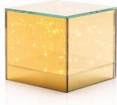 BAULK® │ Tafellampen │ Sfeerlamp │ Decoratie lampjes │ Led tafellamp │ Glas │Vierkant │AA-Batterijen │12x12x12cm