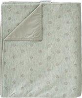 Cottonbaby wiegdeken stip grijs/groen met katoenen voering 75x90 cm