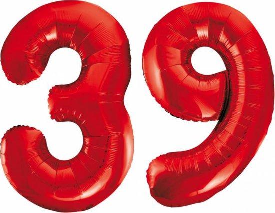 Folieballon 39 jaar rood 86cm