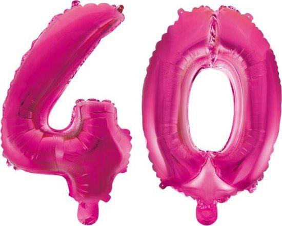 Folieballon 40 jaar roze 41cm