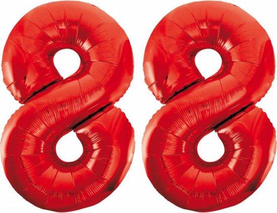 Folieballon 88 jaar rood 86cm