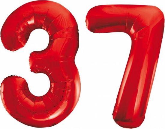 Folieballon 37 jaar rood 86cm