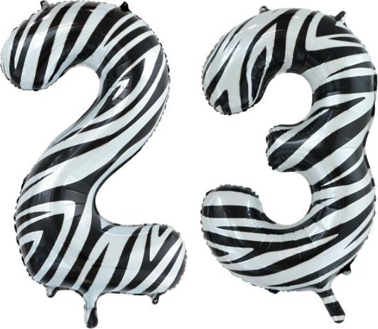 Folieballon 23 jaar zebra 86cm