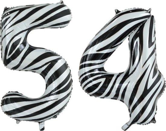 Folieballon 54 jaar zebra 86cm