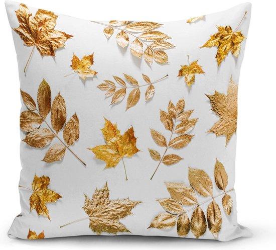 Decoratieve woonkamer sierkussen stijlvolle gouden gekleurde bladeren - Kussens woonkamer- Binnen of buiten 45x45cm