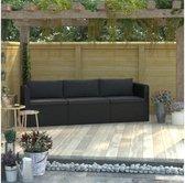 Luxe Summer Lounge Bank - Loungeset 3 Delig - Tuinmeubel - Loungebank - Zwart - CASAXL