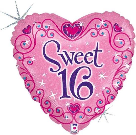 Folie cadeau sturen helium gevulde ballon Gefeliciteerd/Happy Birthday Sweet 16/16e verjaardag 46 cm - Roze hartjes ballon - Folieballon verjaardag versturen/verzenden