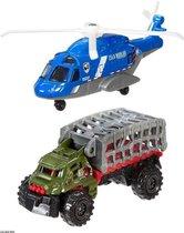 Jurassic World helikopter + Vrachtwagen - Multicolor - Kunststof