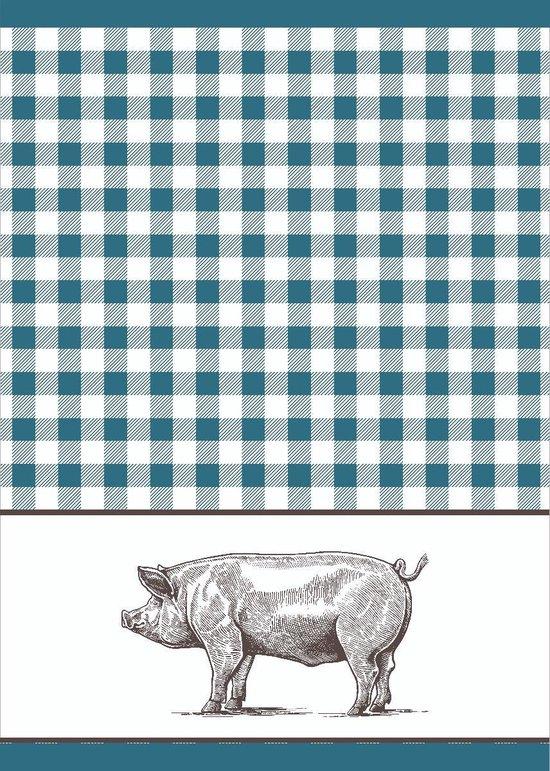 Clarysse Theedoeken Pig Blauw 50x70cm 6 stuks