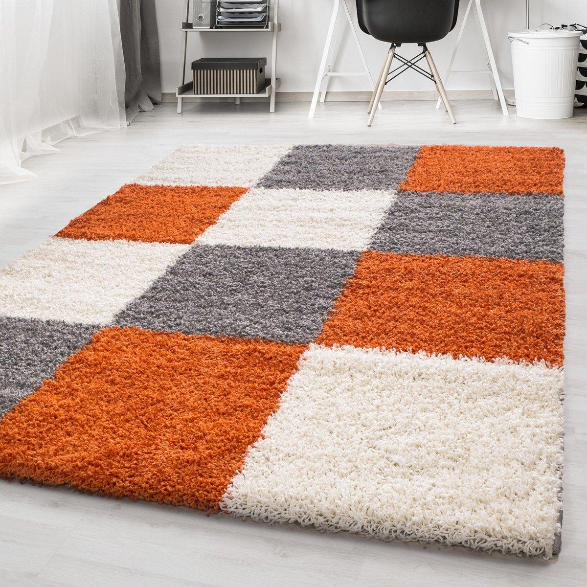 Oranje Tapijt Hoogpolig Vloerkleed Omid Essential Blokjes 200x290cm Modern Woonkamer Salon Slaapkamer Eetkamer