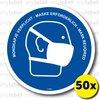 Waarschuwing sticker - Mondkapje verplicht (50x) 18x18cm