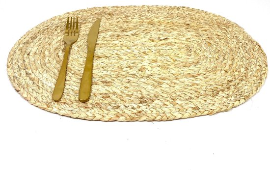 Lucy's Living Luxe Placemat ZEEGRAS naturel – 45 x 30 cm - tafelaccessoires – koken – ovaal – wonen