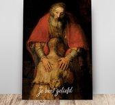 Metalen Wandbord A3 'Je bent geliefd - Rembrandt' - christelijk - cadeau - bord