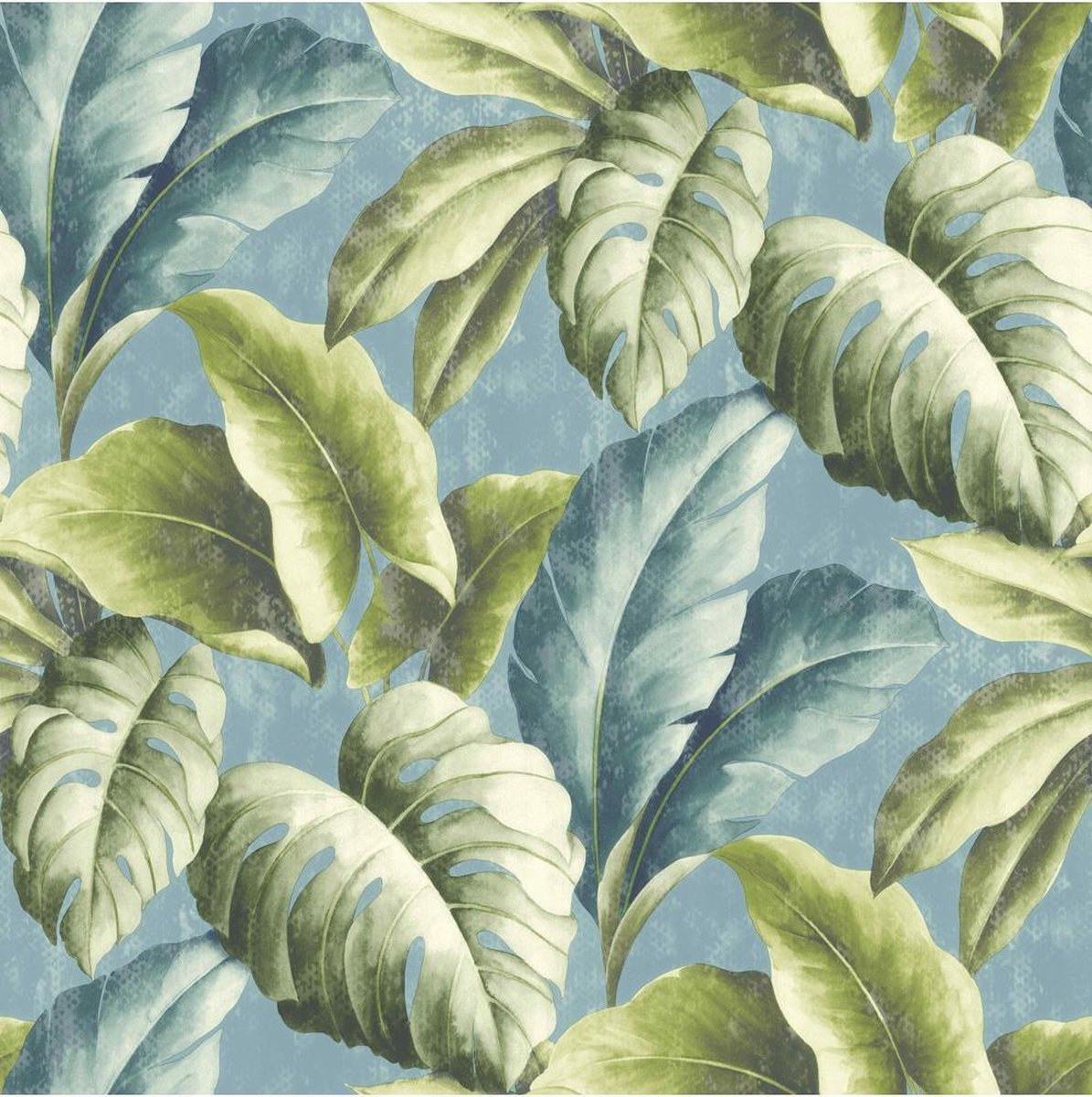 Botanical bladeren groen/blauw behang (vliesbehang, blauw) - Dutch Wallcoverings