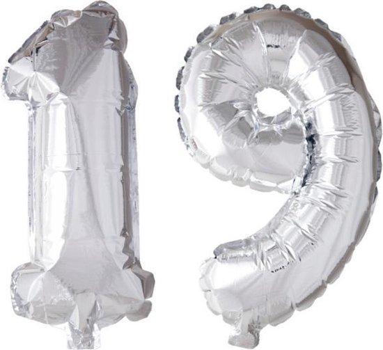 Folieballon 19 jaar zilver 86cm
