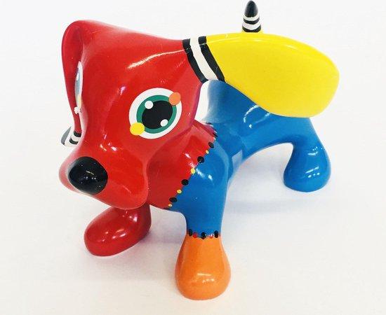 Jacky Zegers Beeld Teckel Jonno-Kleurrijke, Vrolijke Kunst–Uniek en Origineel Cadeau– in Kleurrijke Geschenkdoos -JZ05-13 cm
