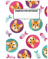 Composition Notebook: cute cat and artistic cover design book for notebook