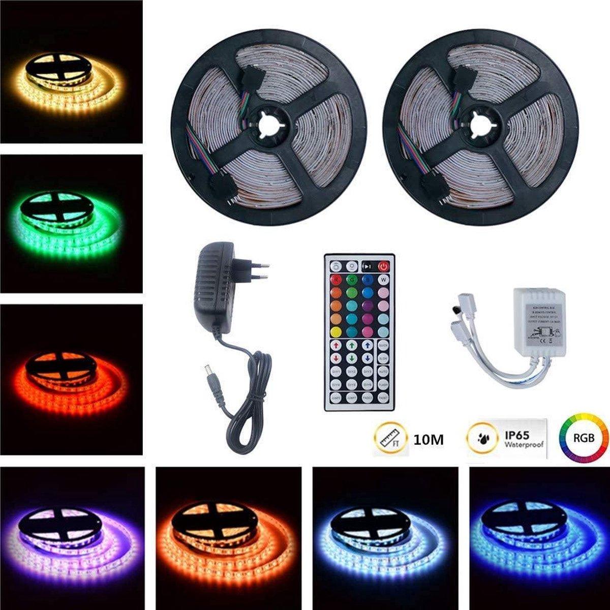 2x - led strip - 5 Meter - Set RGB - kleuren - Met afstandbediening Plakstrip - LED