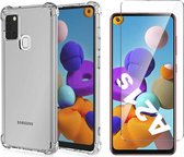 Samsung A21s Hoesje en Samsung A21s Screenprotector - Samsung Galaxy A21s Hoesje Transparant Shock Proof Case + Screen Protector Glas