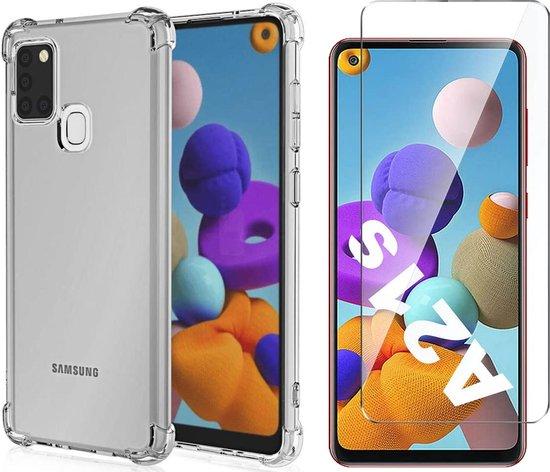 Samsung A21s Hoesje en Samsung A21s Screenprotector - Samsung Galaxy A21s Hoesje Transparant Shock Proof Case + Screen Protector Glas