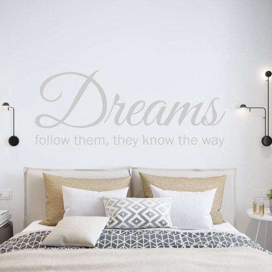Muursticker Dreams Follow Them They Know The Way -  Lichtgrijs -  160 x 67 cm  - Muursticker4Sale