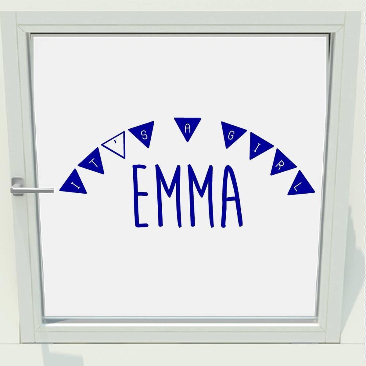 Geboorte Sticker It's A Girl Met Naam -  Donkerblauw -  100 x 42 cm  - raam en deur stickers - geboorte stickers   - Muursticker4Sale