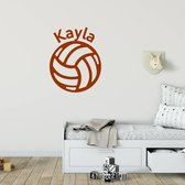 Muursticker Volleybal Met Naam -  Bruin -  80 x 101 cm  - Muursticker4Sale