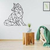 Origami Muursticker Wolf -  Zwart -  80 x 80 cm  - Muursticker4Sale