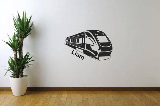 Muursticker Trein Met Naam -  Zilver -  60 x 40 cm  - Muursticker4Sale