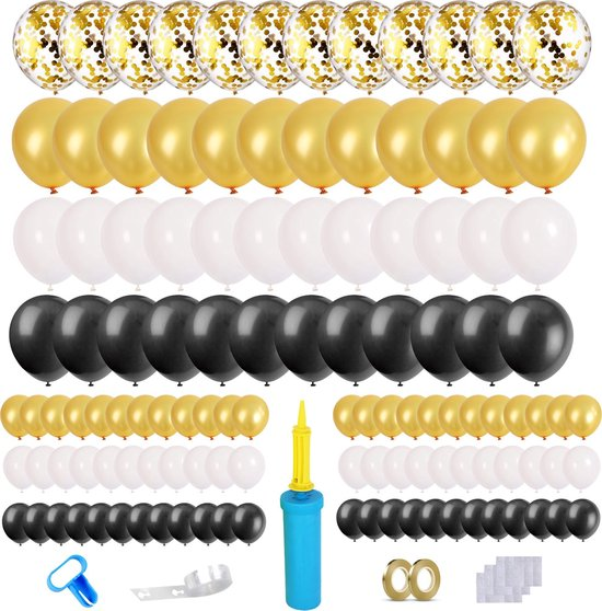 Partizzle® Zwart Goud Feest Verjaardag Bruiloft Versiering Ballonnen - Ballonnenboog Zelf Maken Kit
