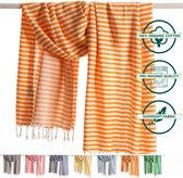 ANATURES Hamamdoek XL HOLIDAY 95x190 cm   Hamam strandlaken, Badlaken, Sauna handdoek, Fouta pareo, Yoga handdoek   Fair Trade – Biologische katoen   Oranje