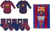 FC Barcelona kraampakket met rompers, baby sokjes en handdoekje