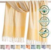 ANATURES Hamamdoek XL TRAVELER 95x175 cm   Hamam strandlaken, Badlaken, Sauna handdoek, Fouta pareo, Yoga handdoek   Fair Trade – Biologische katoen   Geel