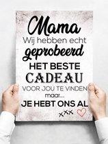 Wandbord: Mama, Wij Hebben Echt Geprobeerd Het Beste Cadeau Voor Jou Te Vinden... - 30 x 42 cm