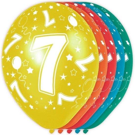 10x stuks 7 Jaar thema versiering helium ballonnen 30 cm - Verjaardag feestartikelen/versiering
