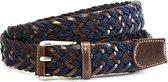 Unisex vlechtriem 3.5 cm breed - Cognac Blauw - Casual - Leer / Textiel - Taille: 110cm - Totale lengte riem: 125cm - Unisex riem