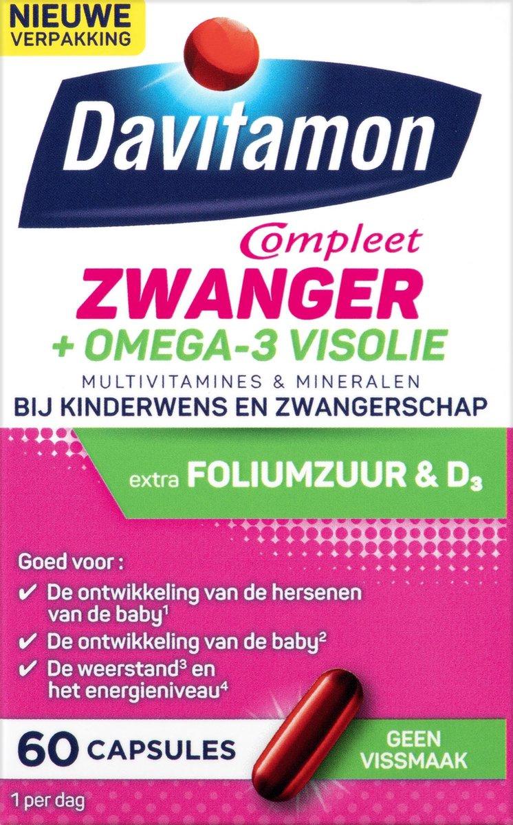 Davitamon Mama Compleet Zwanger Omega 3 Visolie - Multivitamine Zwangerschap met vitamine D3  - 60 s