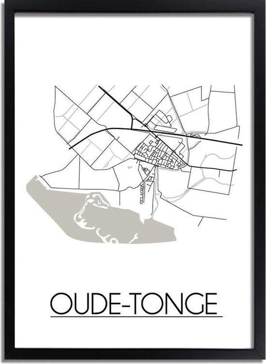 DesignClaud Oude-Tonge Plattegrond poster A3 + Fotolijst zwart