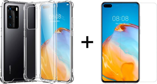 Huawei P40 Hoesje Transparant - Shock Proof Case - 1 x Tempered Glass ScreenProtector