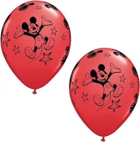 12x stuks Mickey Mouse thema party ballonnen - Kinderfeestjes feestartikelen versieringen